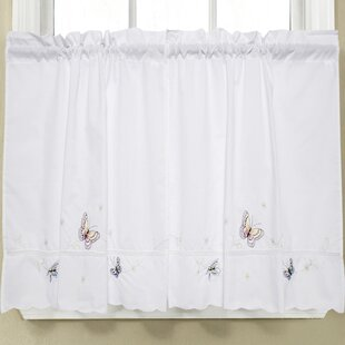 Monarch Embroidered Butterfly Kitchen Tier Curtain Set Of 2