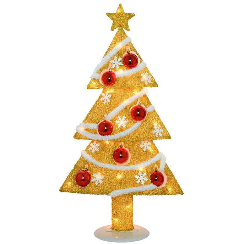 pre lit tinsel christmas tree decoration with 20 fairy lights and 7 baubles