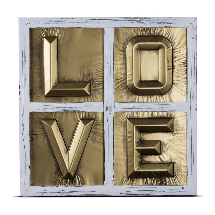Metal Block Letters For Wall Wrought Studio Love Sign 3D Metal Block Letters Framed Wall Décor