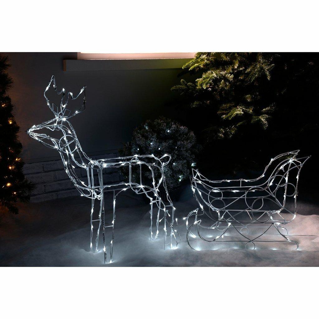 the seasonal aisle pre lit animated multi function reindeer and sleigh lighted display wayfaircouk