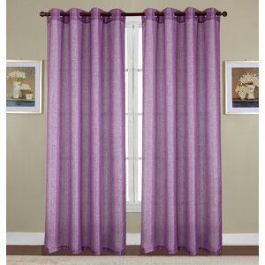 Kaye Woven Lurex Solid Semi-Sheer Grommet Single Curtain Panel