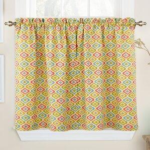lunar lattice ikat semisheer rod pocket curtain panels set of 2