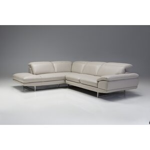 Orren Ellis Deontaye Left Side Facing Chaise Leather Stationary Sectional
