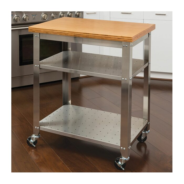 Irene Kitchen Work Table Cart With Bamboo Top