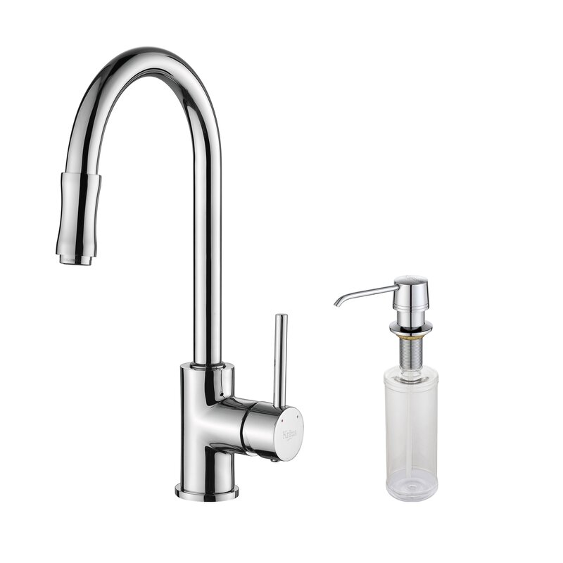 kraus single handle pull down kitchen faucet set with spray