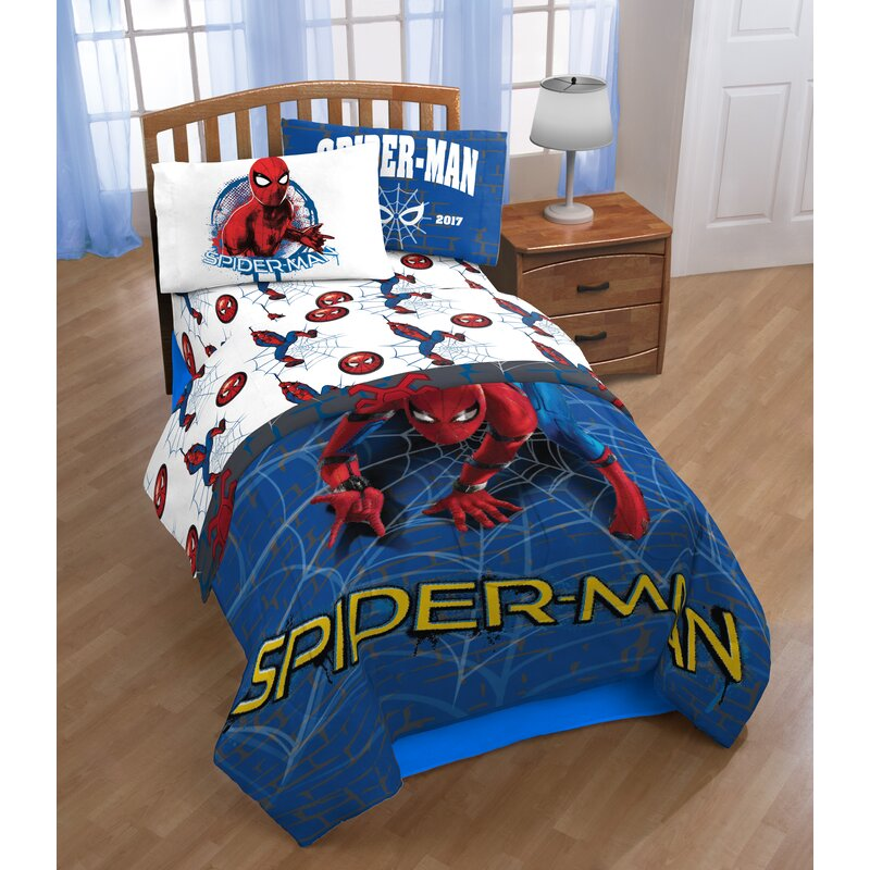 Marvel Spiderman Wall Crawler Twin Polyester 3 Piece Sheet Set