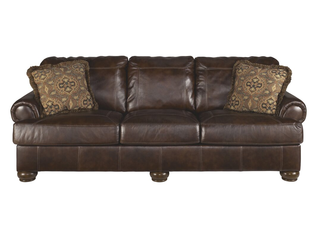 Leather sofa studded for Leather studded couch