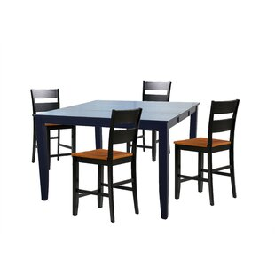 Hassen 5 Piece Counter Height Extendable Solid Wood Dining Set