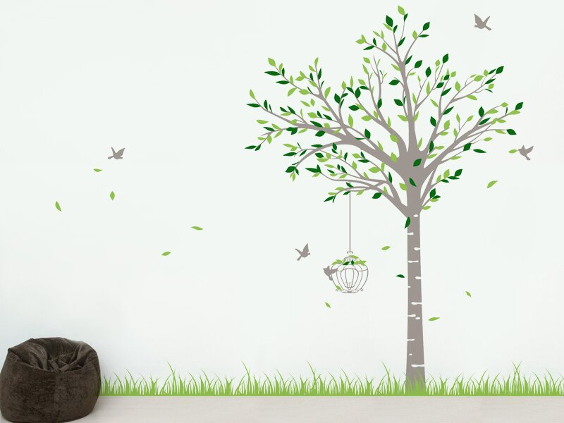 pop decors spring tree and grass wall decal & reviews | wayfair
