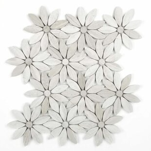 Tuscany Flower Random Sized Marble Mosaic Tile In Beige