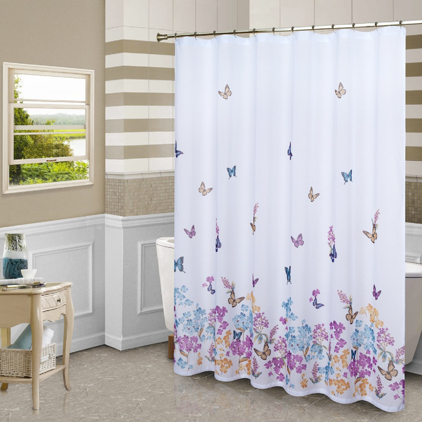 Butterfly Kitchen Curtains: United Curtain Co. Butterfly Shower Curtain & Reviews