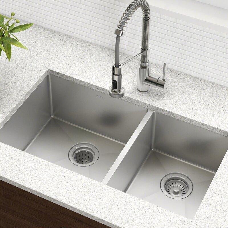 Undermount Kitchen Sink With Drainer Kraus 33 x 19 double basin undermount kitchen sink with drain 33 x 19 double basin undermount kitchen sink with drain assembly workwithnaturefo