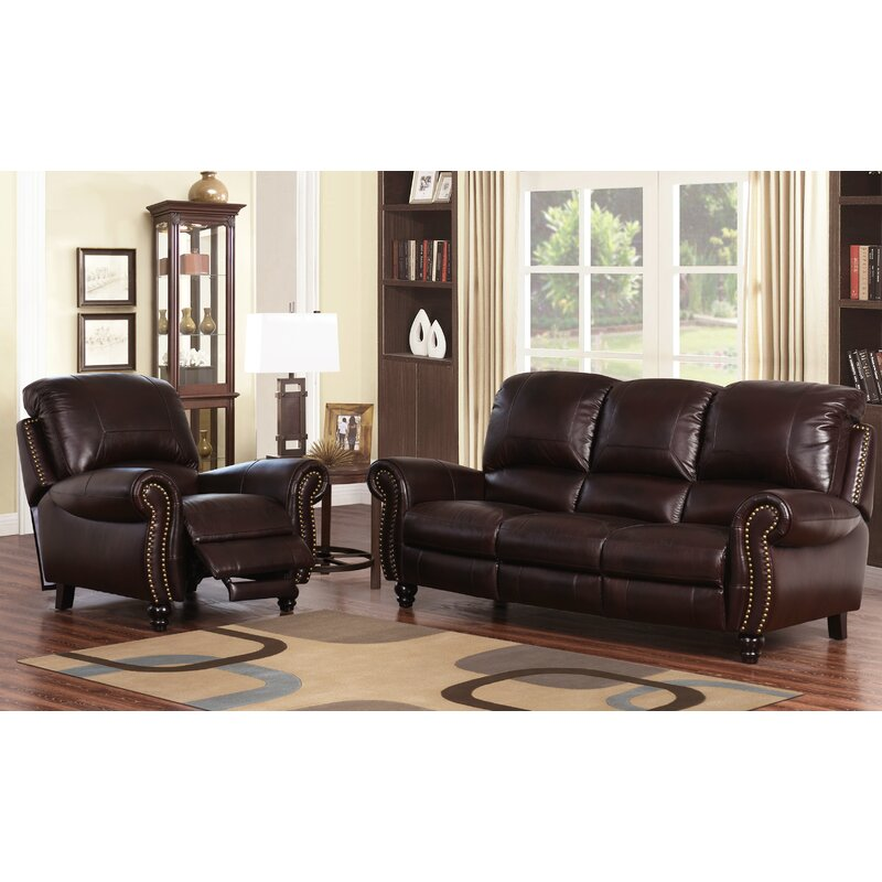 Darby home co kahle 2 piece leather living room set reviews wayfair 2 piece leather living room set