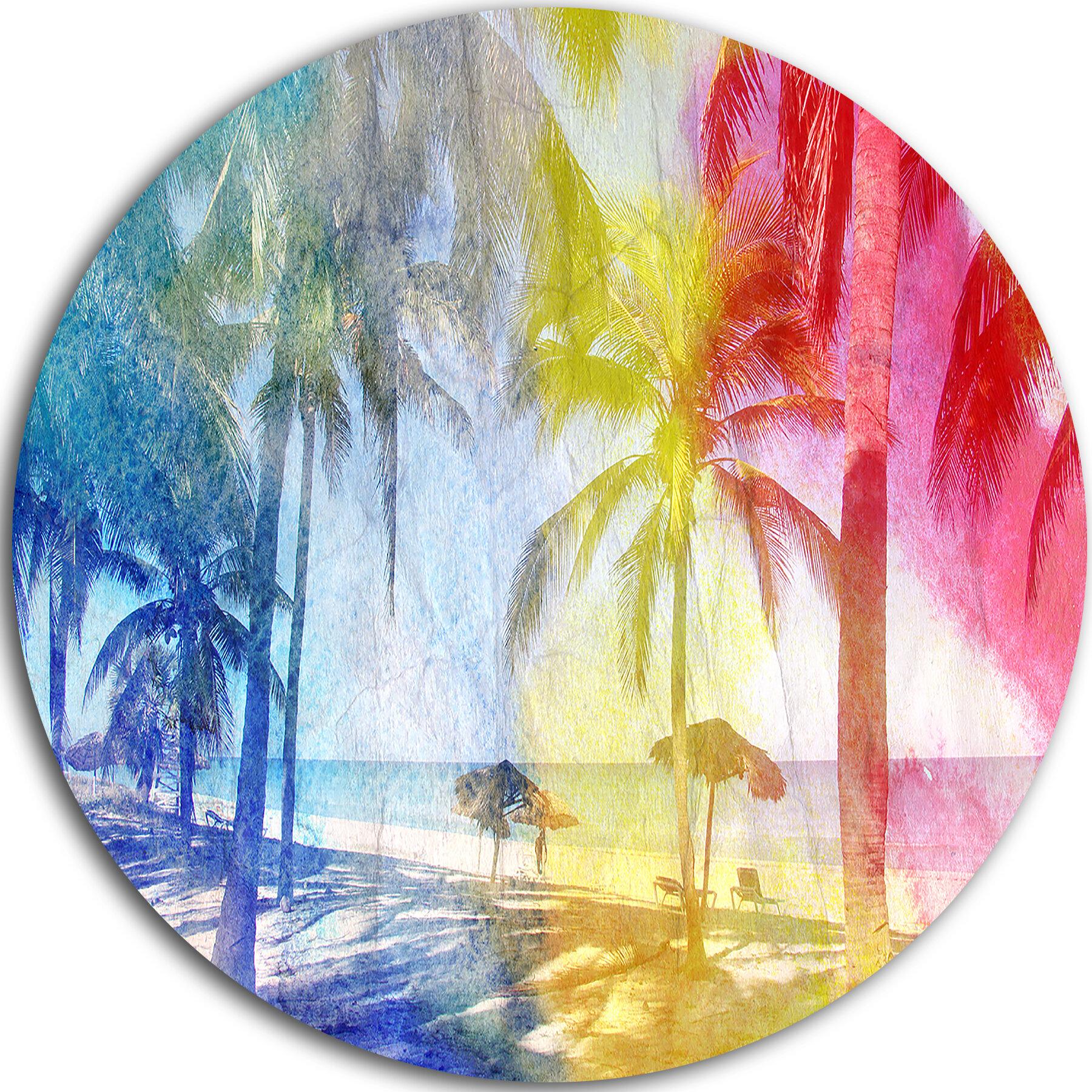 DesignArt \'Blue Retro Palm Trees\' Graphic Art Print on Metal   Wayfair
