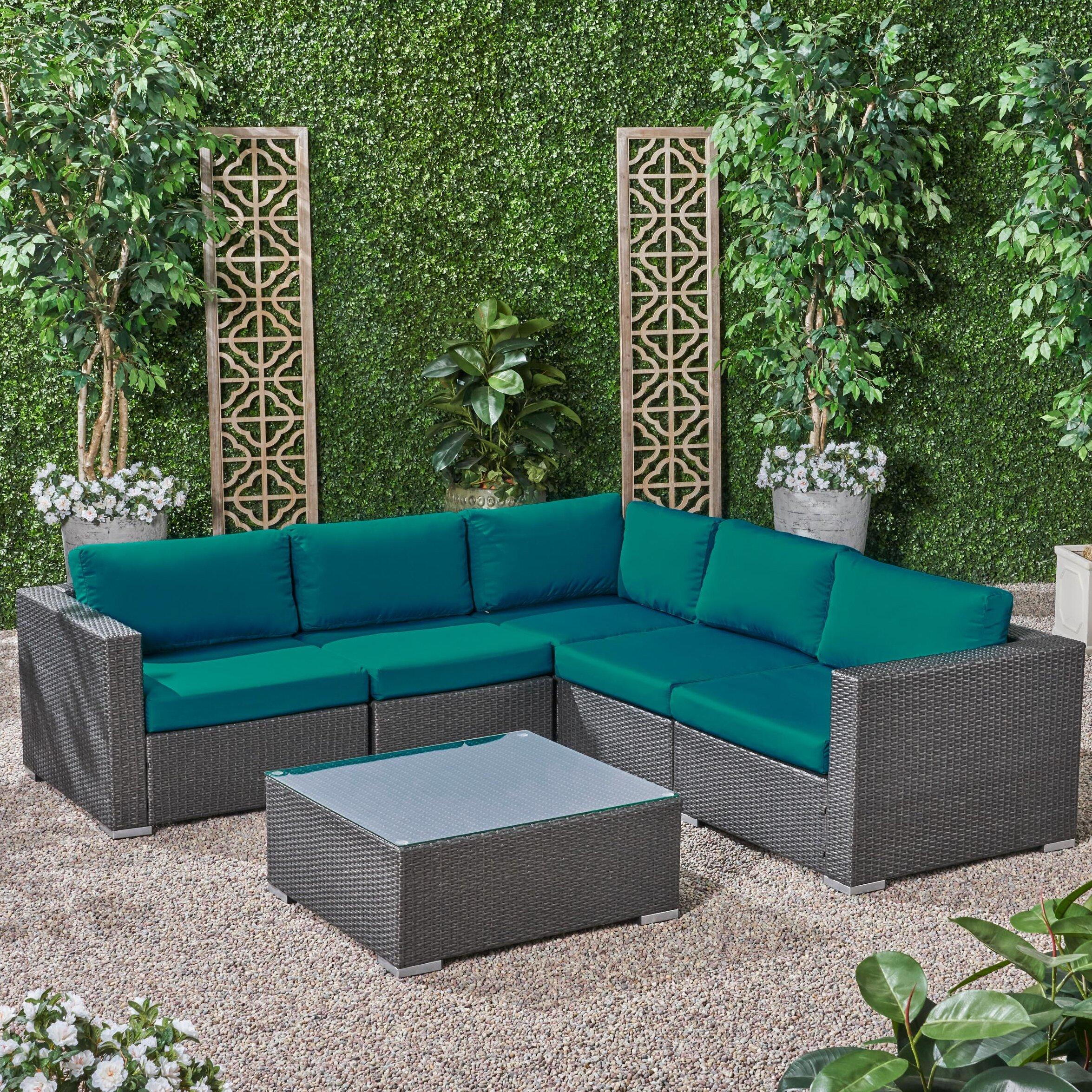 Roxann Outdoor 5 Seater Wicker Sectional Sofa Set with Sunbrella Cushions