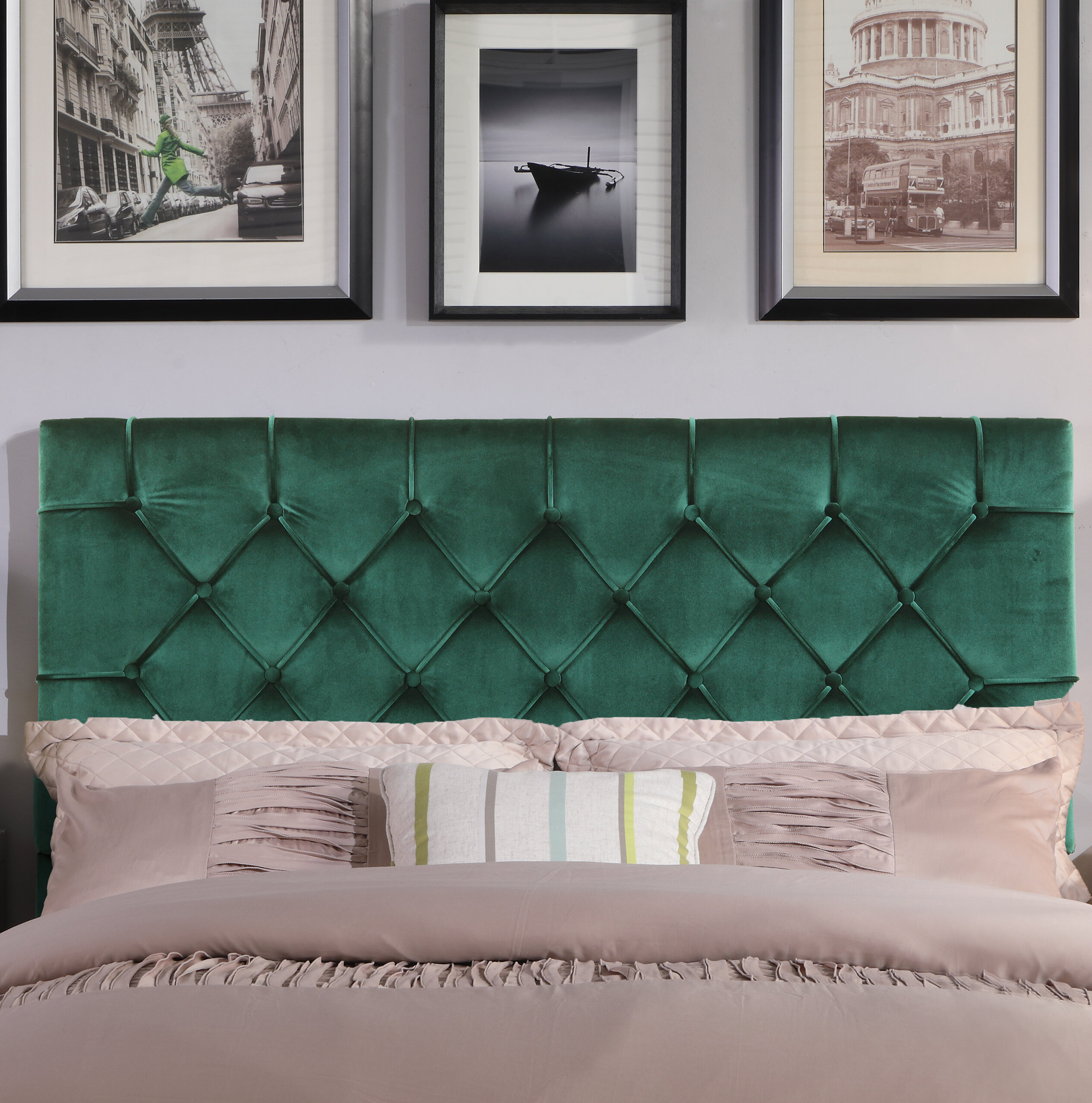 House Of Hampton Heng Diamond On Tufted Upholstered Panel Headboard Reviews Wayfair