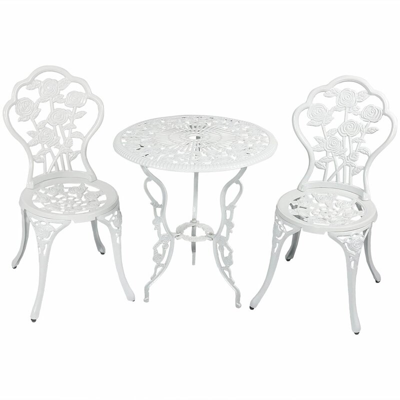 Ophelia Co Montour Flower Designed Cast Aluminum 3 Piece Bistro