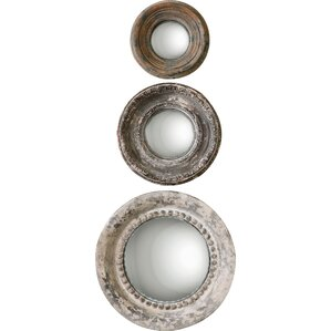 3piece alona round large wall mirror set