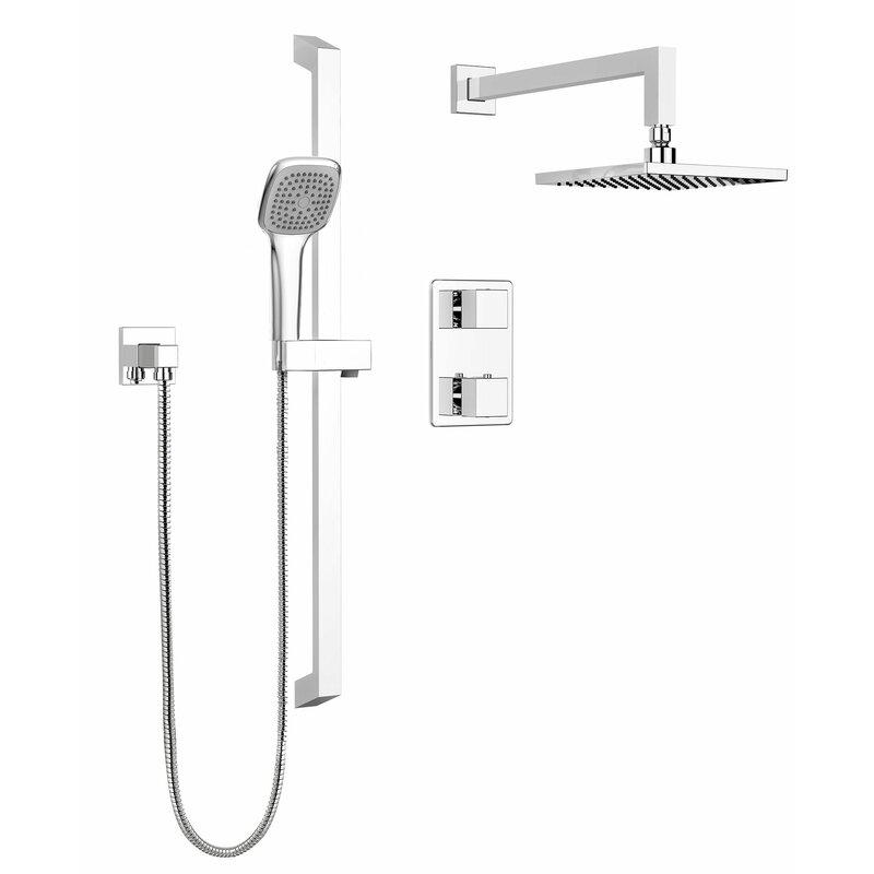 Stylish Square Faucet Pressure Balanced Dual Function Dual Shower Head Complete  Shower System