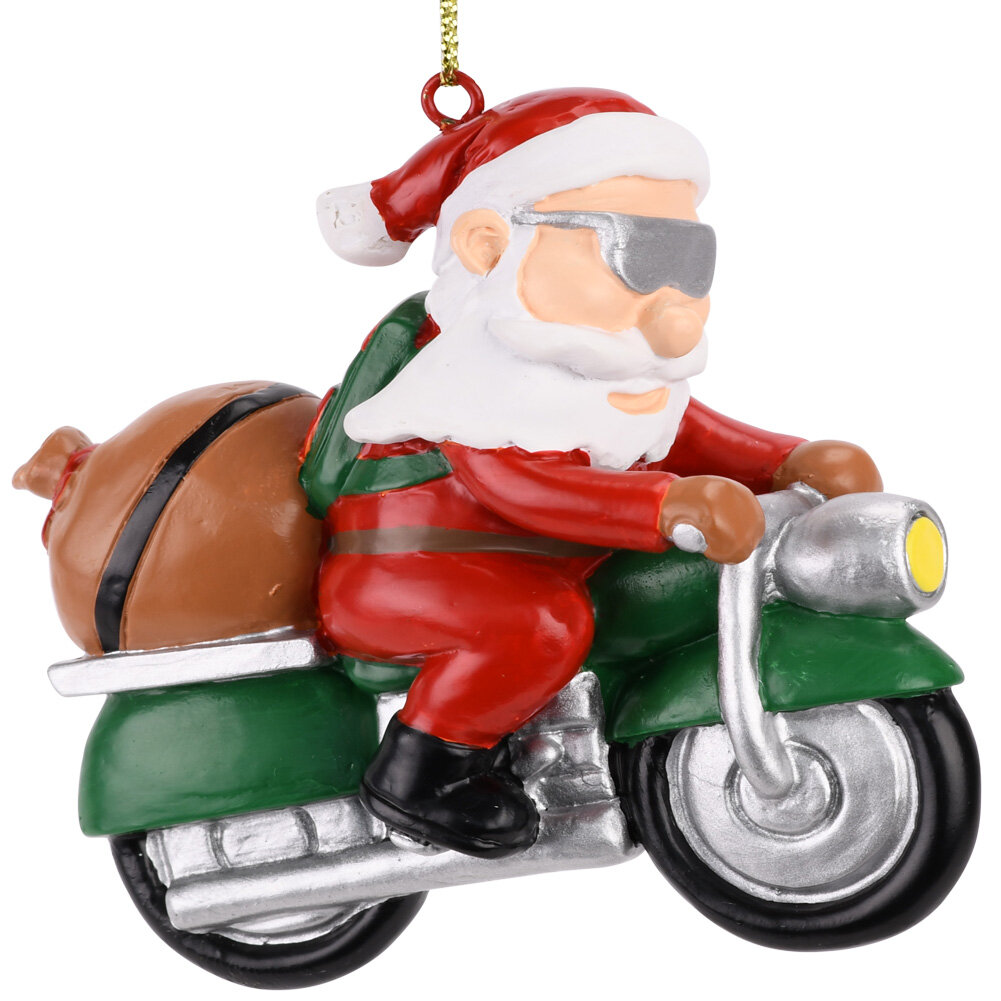the holiday aisle biker santa christmas hanging figurine wayfair - Biker Christmas