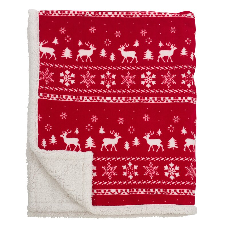 The Holiday Aisle Fair Isle Design Christmas Sherpa Reversible ...