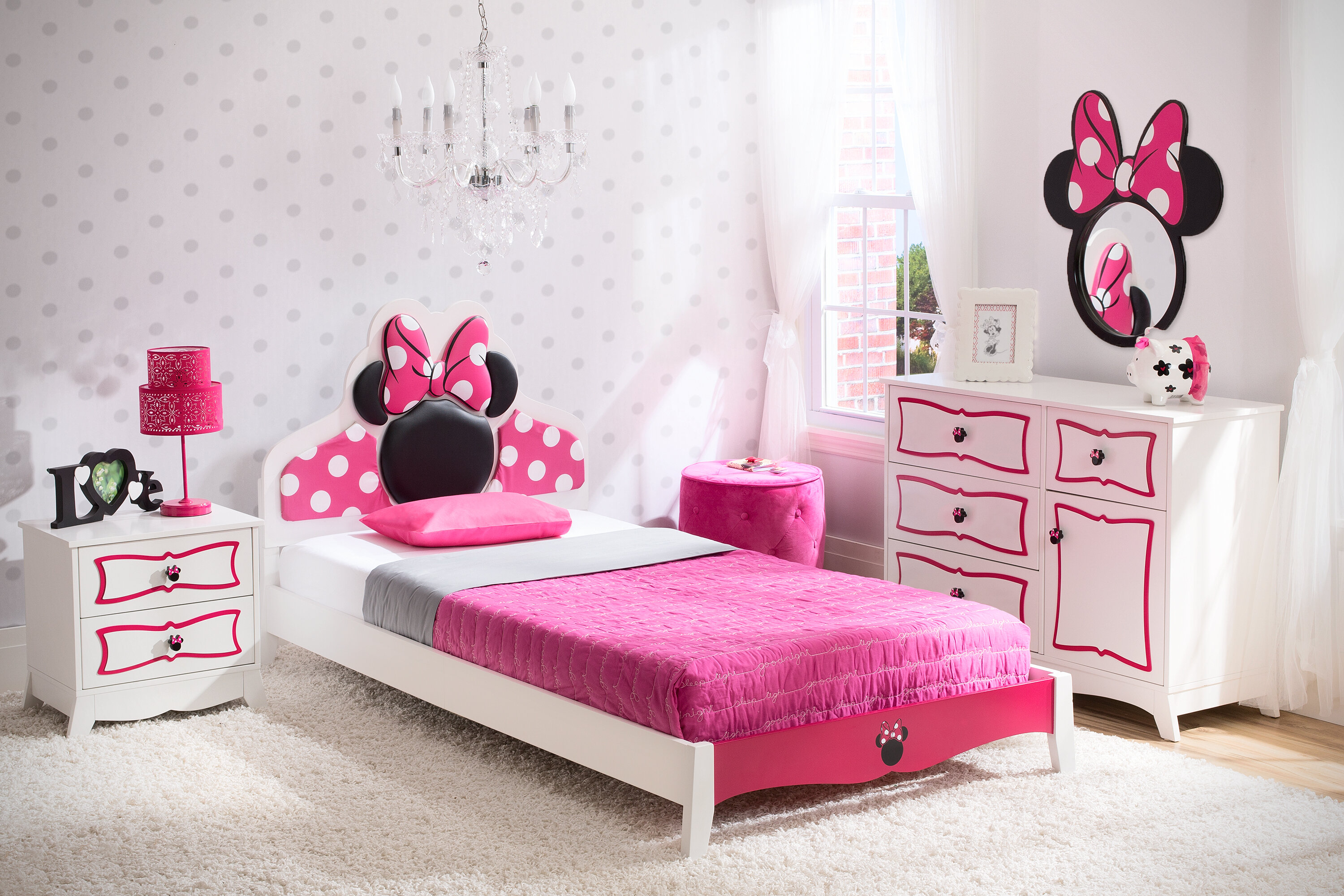 Delta Children Disney Minnie Mouse Panel 4 Piece Bedroom Set U0026 Reviews |  Wayfair