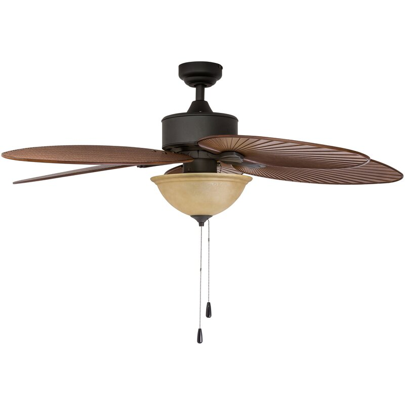 "Tropical Ceiling Fan Tropical Fans With Lights Tropical: Bay Isle Home 52"" Cosgrave Palm Tropical 5 Blade Outdoor"