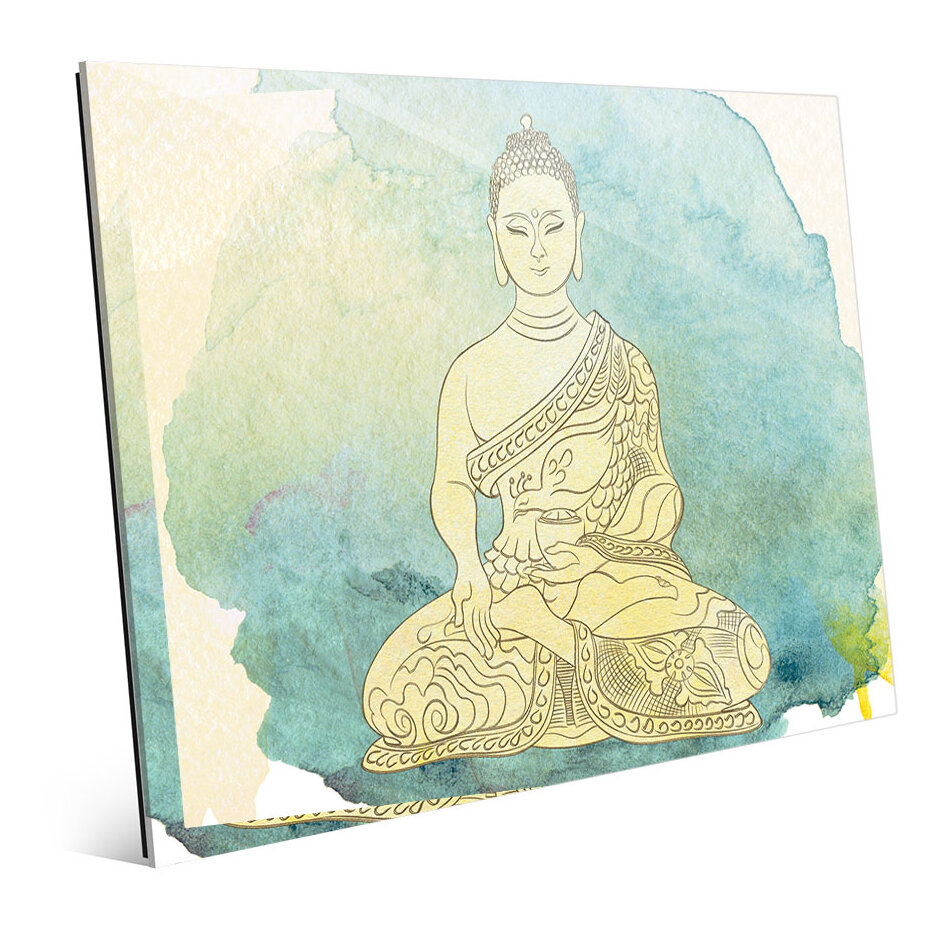 Bungalow Rose \'Canary Aqua Paint Buddha\' Graphic Art Print | Wayfair