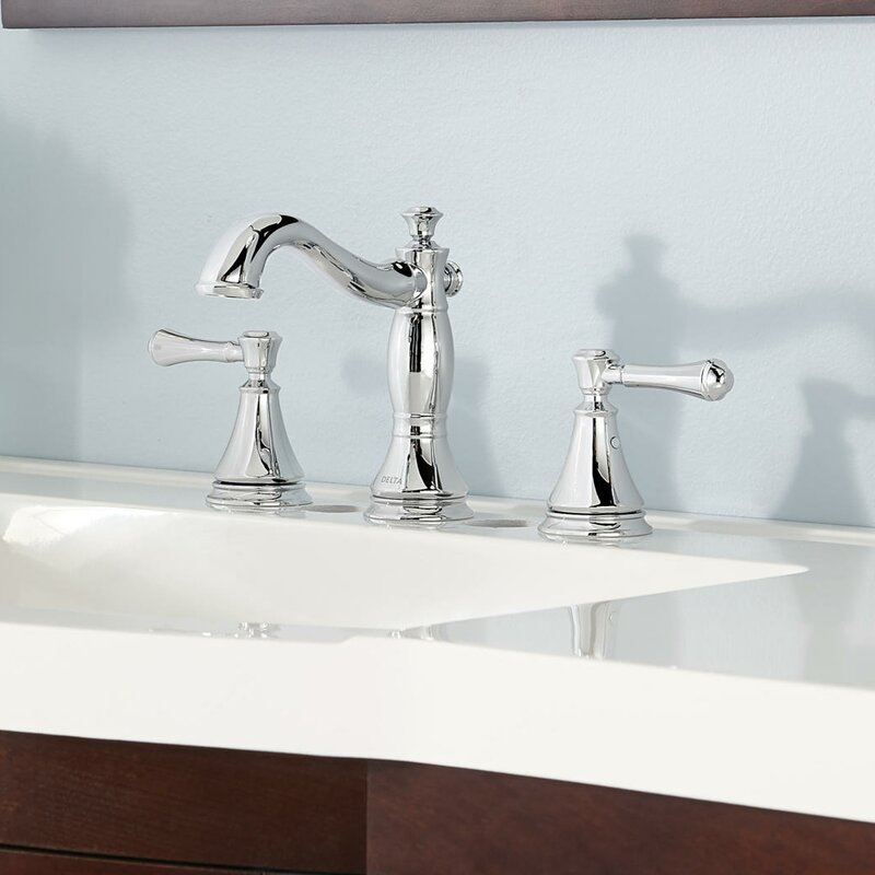cassidy deck mount bathroom faucet with drain assembly
