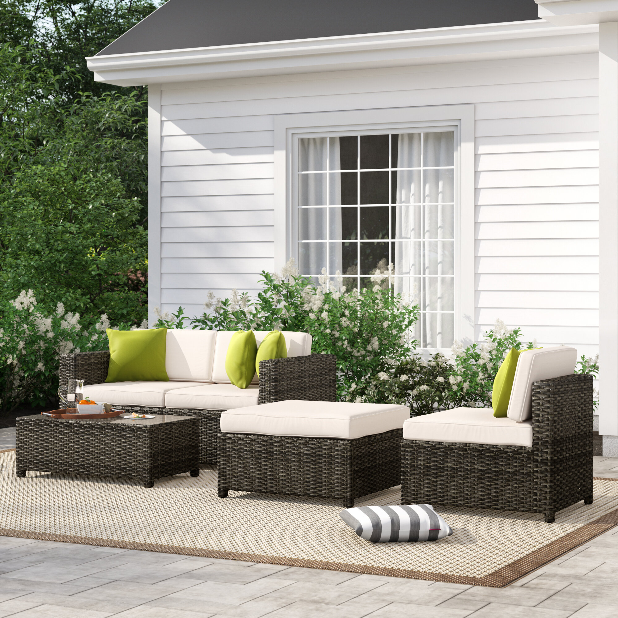 Sol 72 Outdoor Carmelo 5 Piece Rattan Sectional Seating Group With Cushions Reviews Wayfair