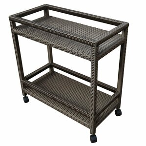 Outdoor Wicker Bar Cart with Shelves and ..