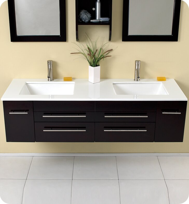 "fresca stella bellezza 59"" double bathroom vanity set with mirrors"