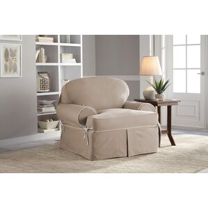 Twill T-Cushion Armchair Slipcover by Serta