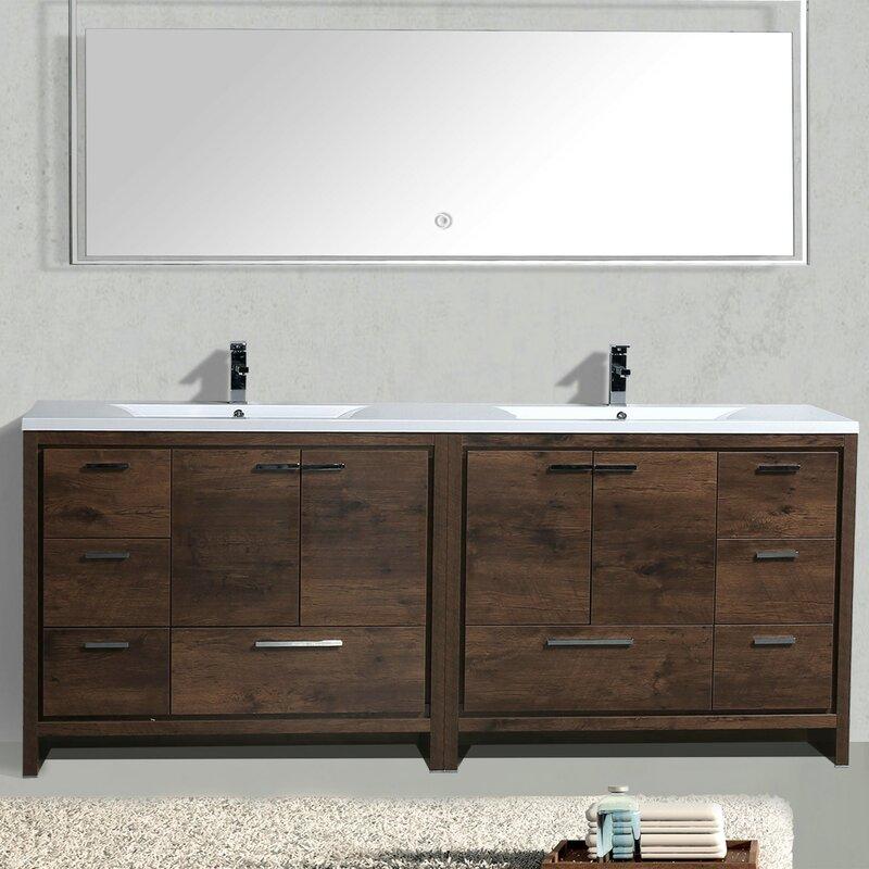 Almendarez free standing modern 83 double bathroom vanity - Freestanding double bathroom vanity ...
