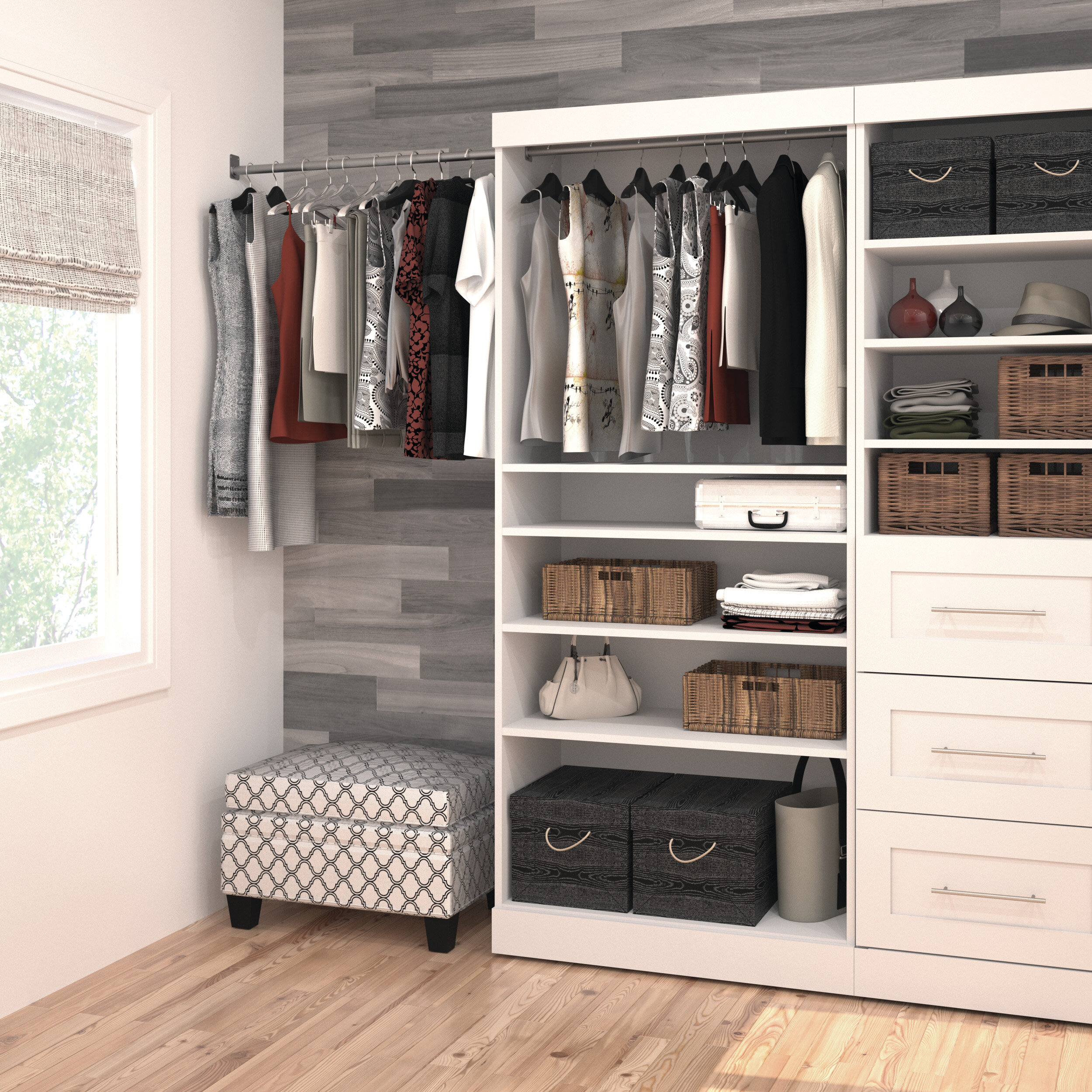 baskets white reachinclosets closet units closets etc reach hang and radial in for wire shelving designs double drawers with
