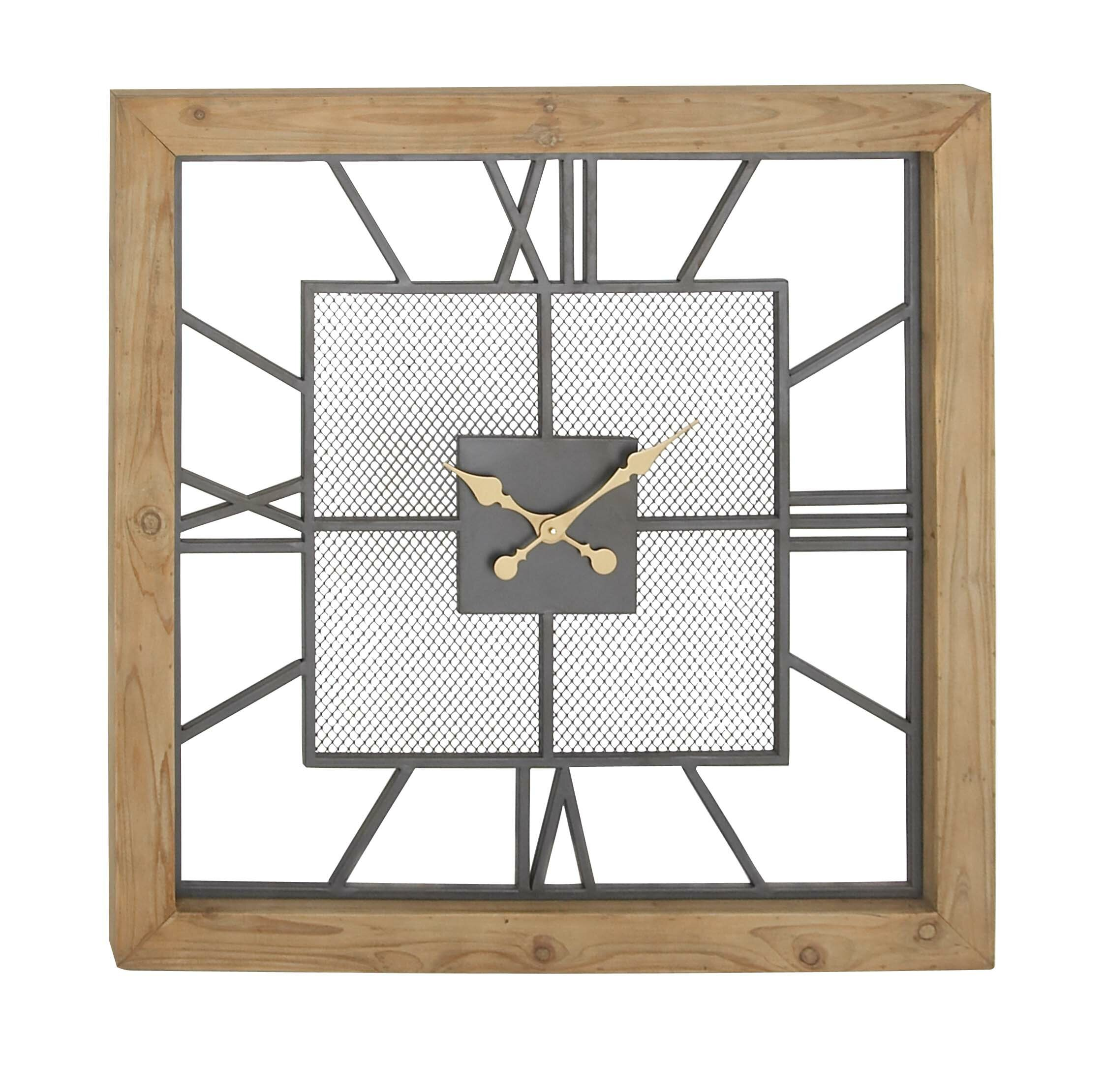 Millersburg Rustic Square Wall Clock with Roman Numerals AllModern