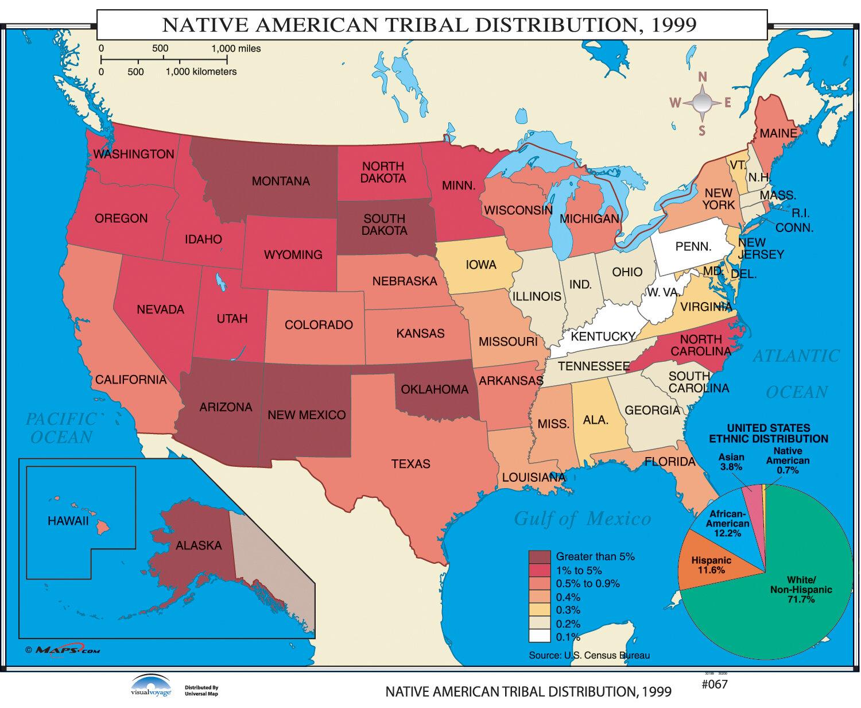 Universal Map Us History Wall Maps - Native American Tribal Distribution  Reviews -8630