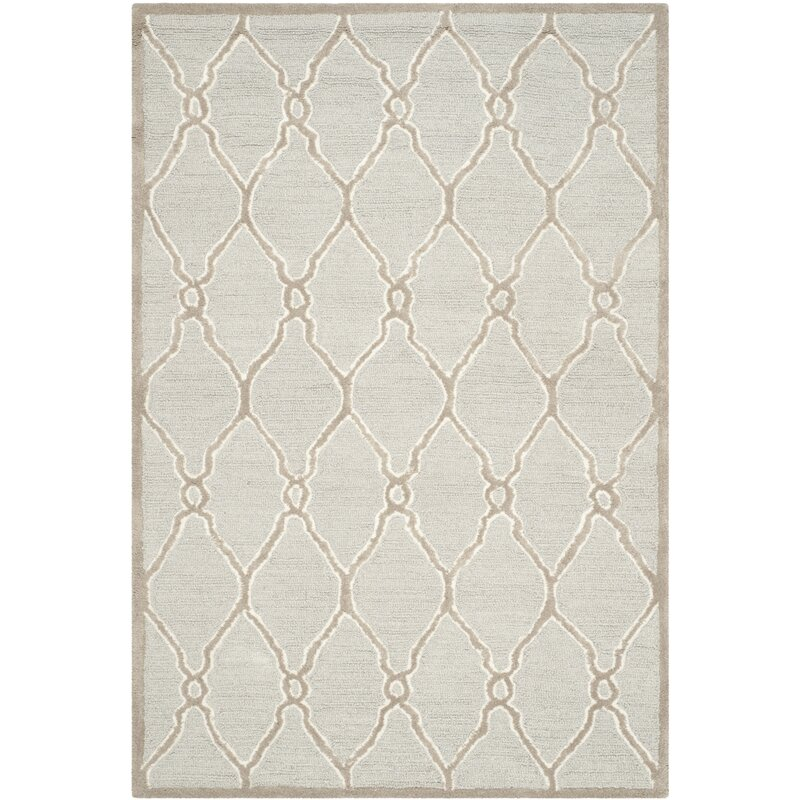 Martins Hand Tufted Wool Light Gray Ivory Area Rug