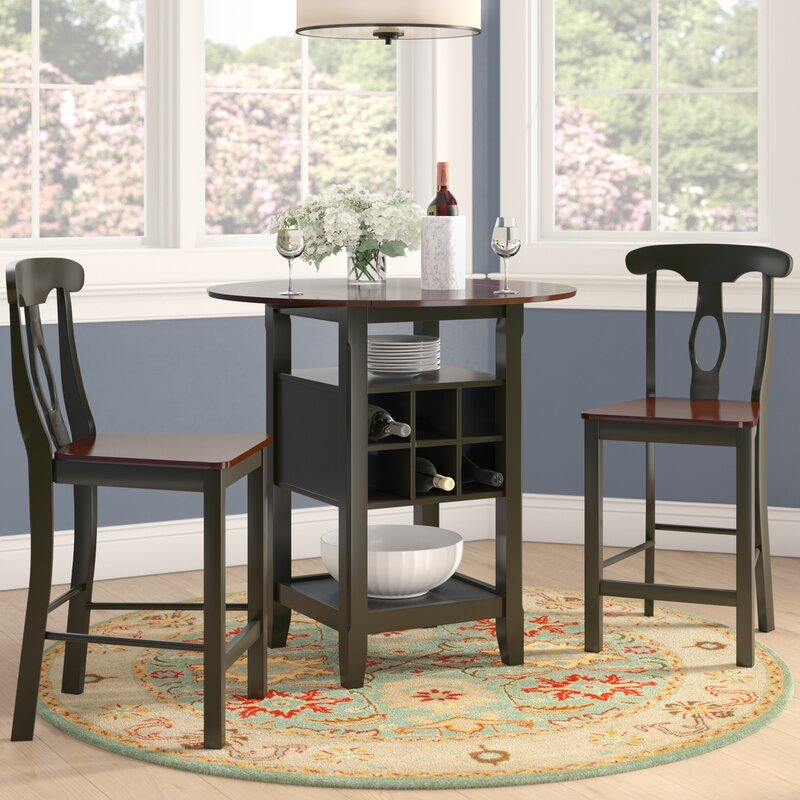 Roundhill Furniture 3 Piece Counter Height Pub Table Set: Three Posts Belmont 3 Piece Counter Height Pub Table Set