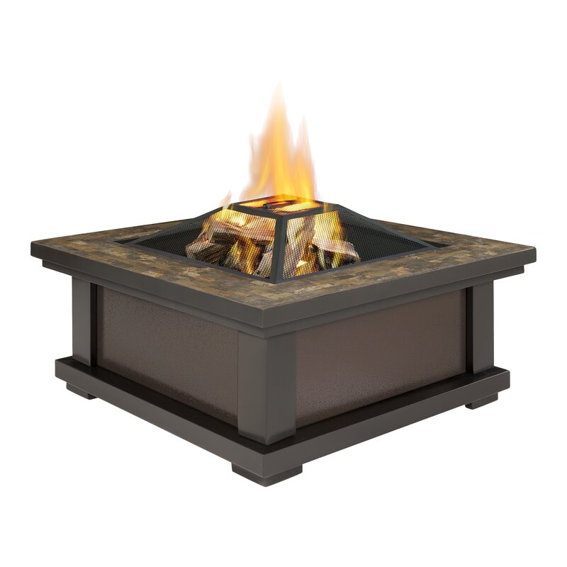 Real flame alderwood steel wood burning fire pit table for Alcohol fire pit