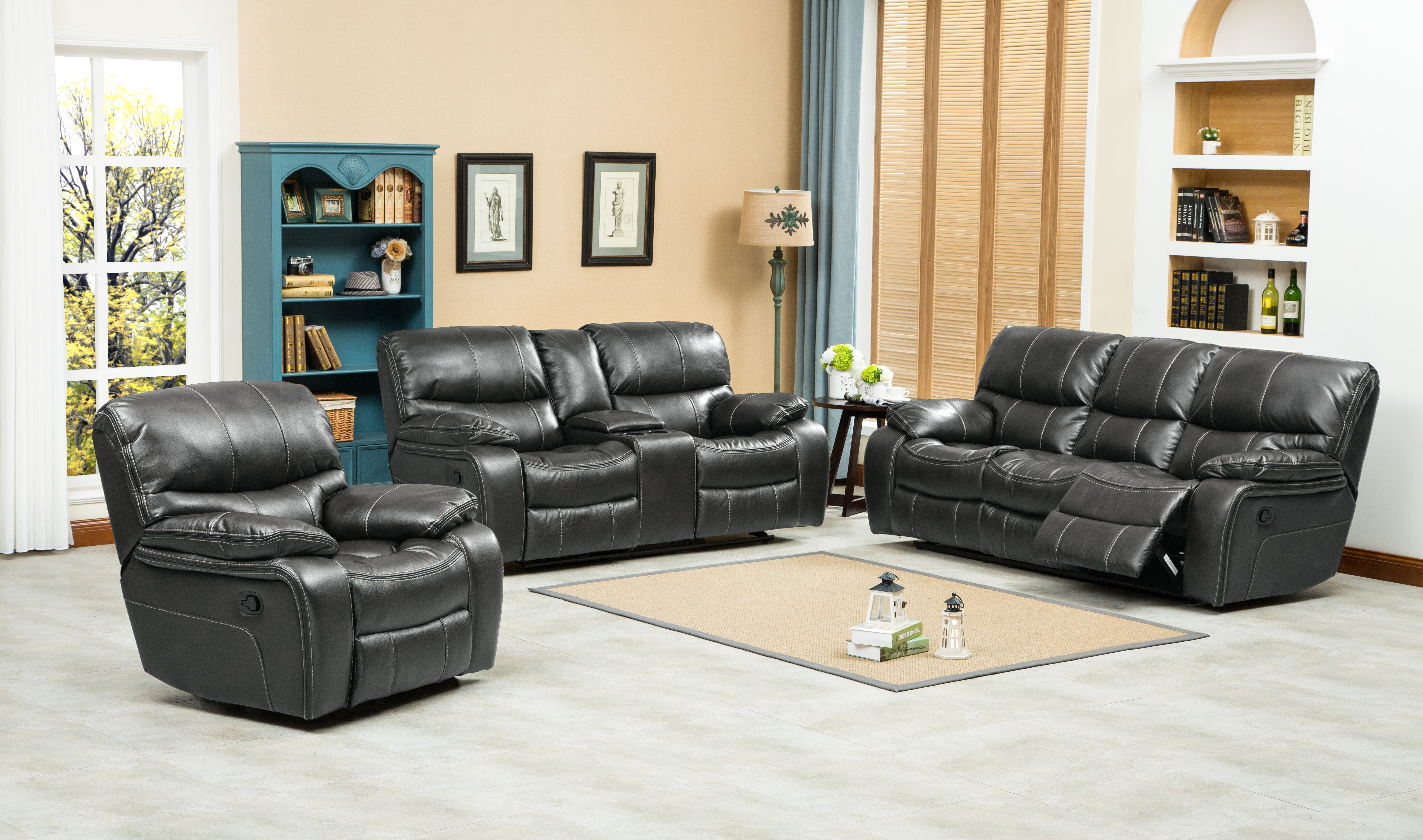Roundhill Furniture Ewa Reclining 3 Piece Leather Living Room Set Wayfair