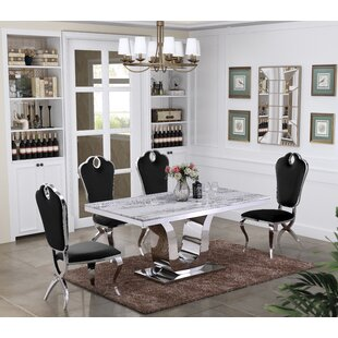 Quinton Marble 5 Piece Dining Set