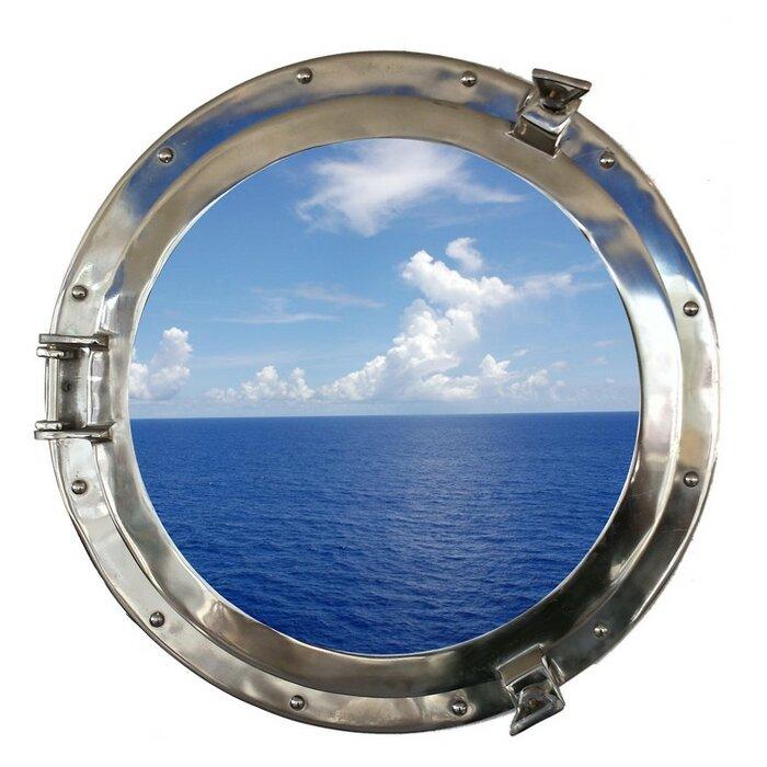 ship porthole mirrors decorative portholes window wheel windows red colorful decor nautical dark brass