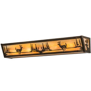 Greenbriar Oak Deer at Lake 4-Light Bath Bar