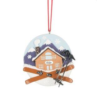 Ski Lodge Hanging Figurine