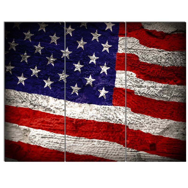 U0027Large American Flagu0027 3 Piece Wall Art On Wrapped Canvas Set