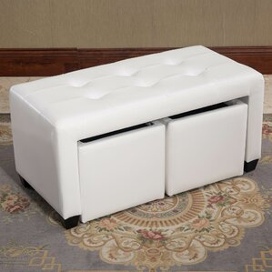 Belote Bicast Leather Double Bin Ottoman by ..