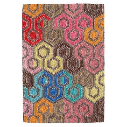 Geodesic Micro Hooked Wool Area Rug Sample