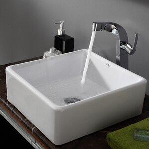 Ceramic Square Vessel Bathroom Sink