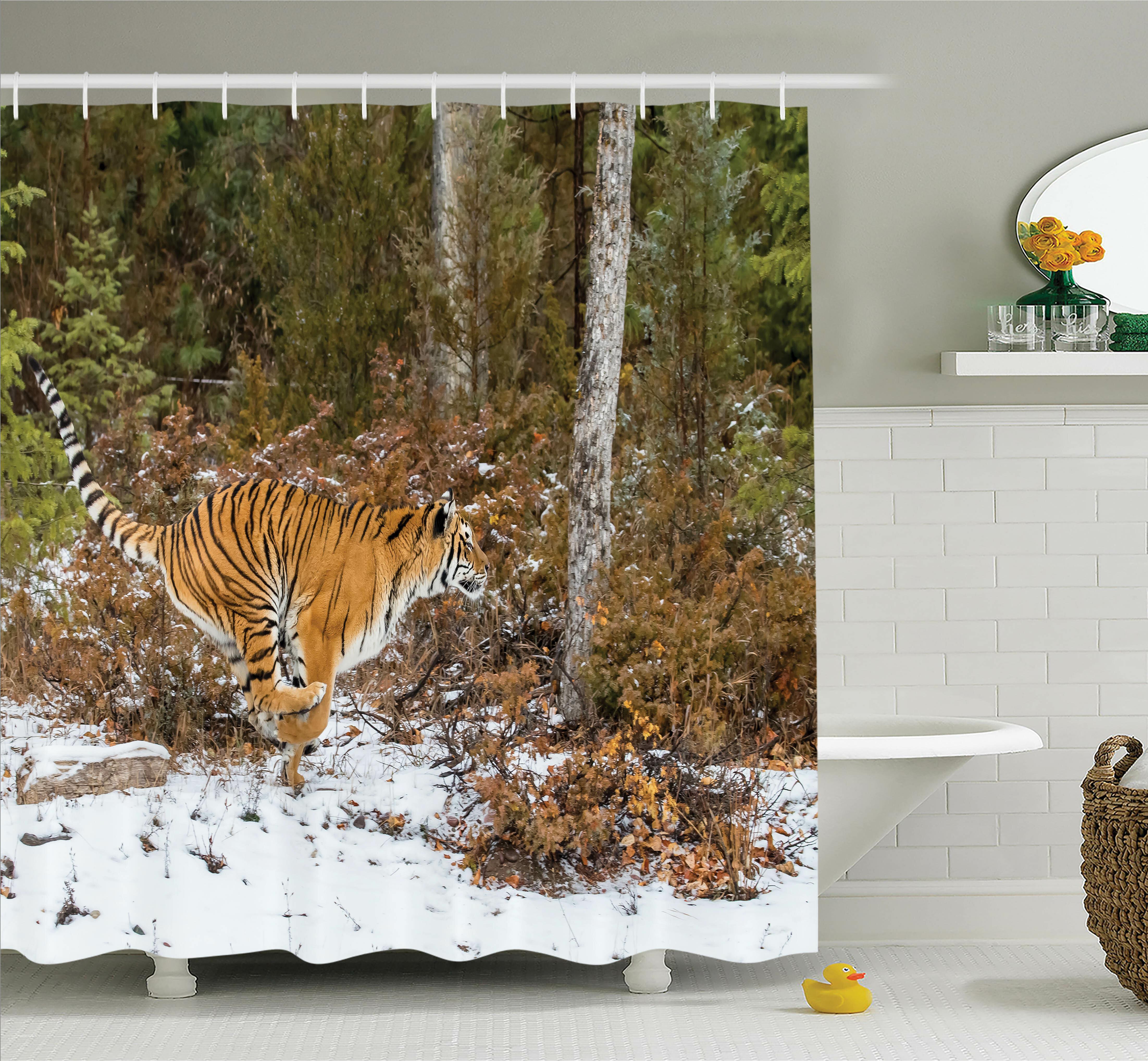 Ambesonne Animal Bengal Tiger Wild Shower Curtain Set